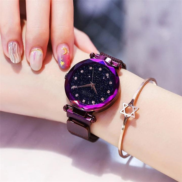 Star-studded magnetic ladies watch