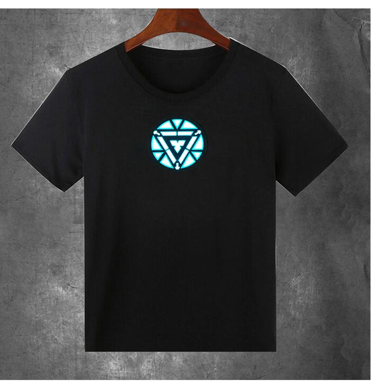 Iron Man LED Sound-activated  LED T-shirt With Flashing Equalizer