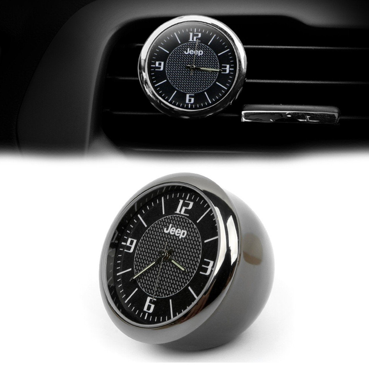 Dashboard Car Clock ,Carbon Fiber Pattern Analog Quartz Clock with Vent Clip and Adhesive Tape