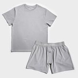 Mint Tech Tee & Boxer Shorts Set - Grey