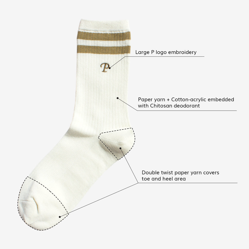 PAPER PROJECT Odorless P embroidered crew socks