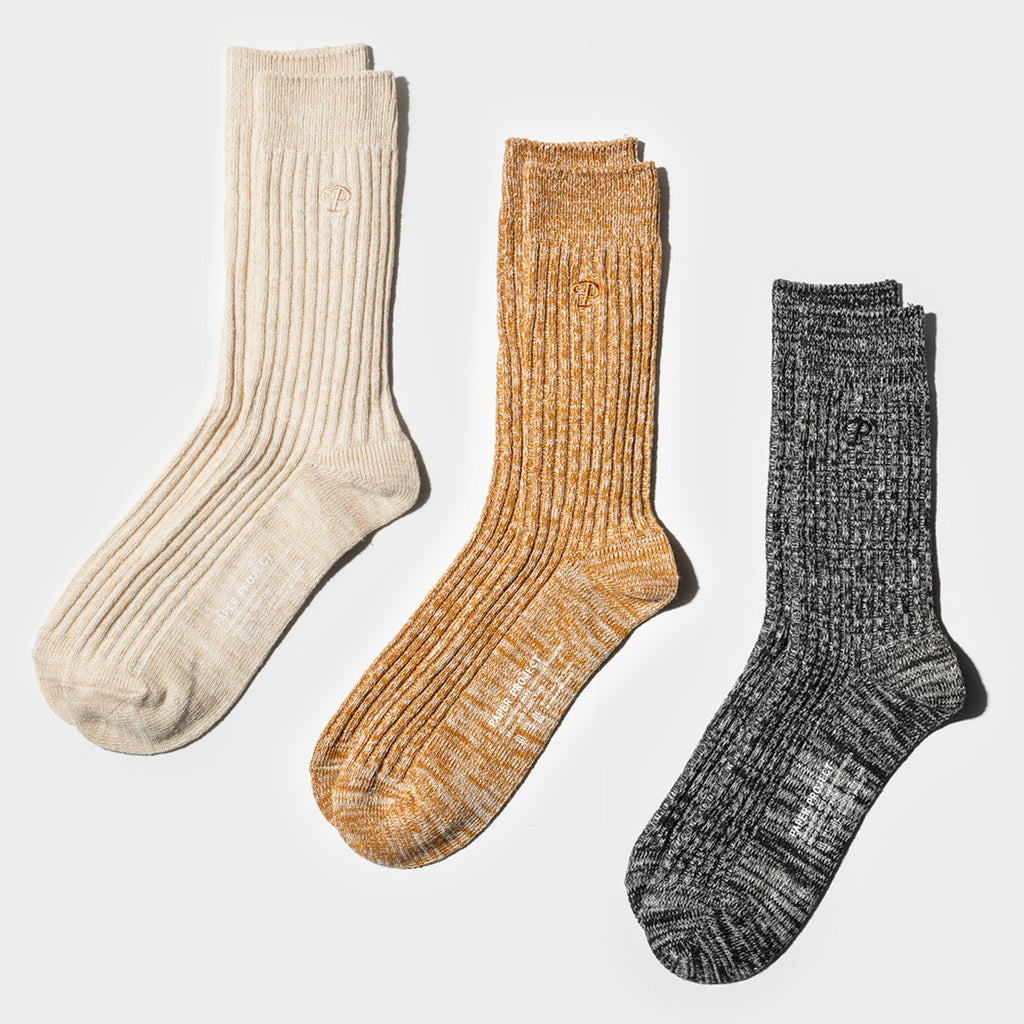 Hemp Heather Crew Sock 3pairs - Multi