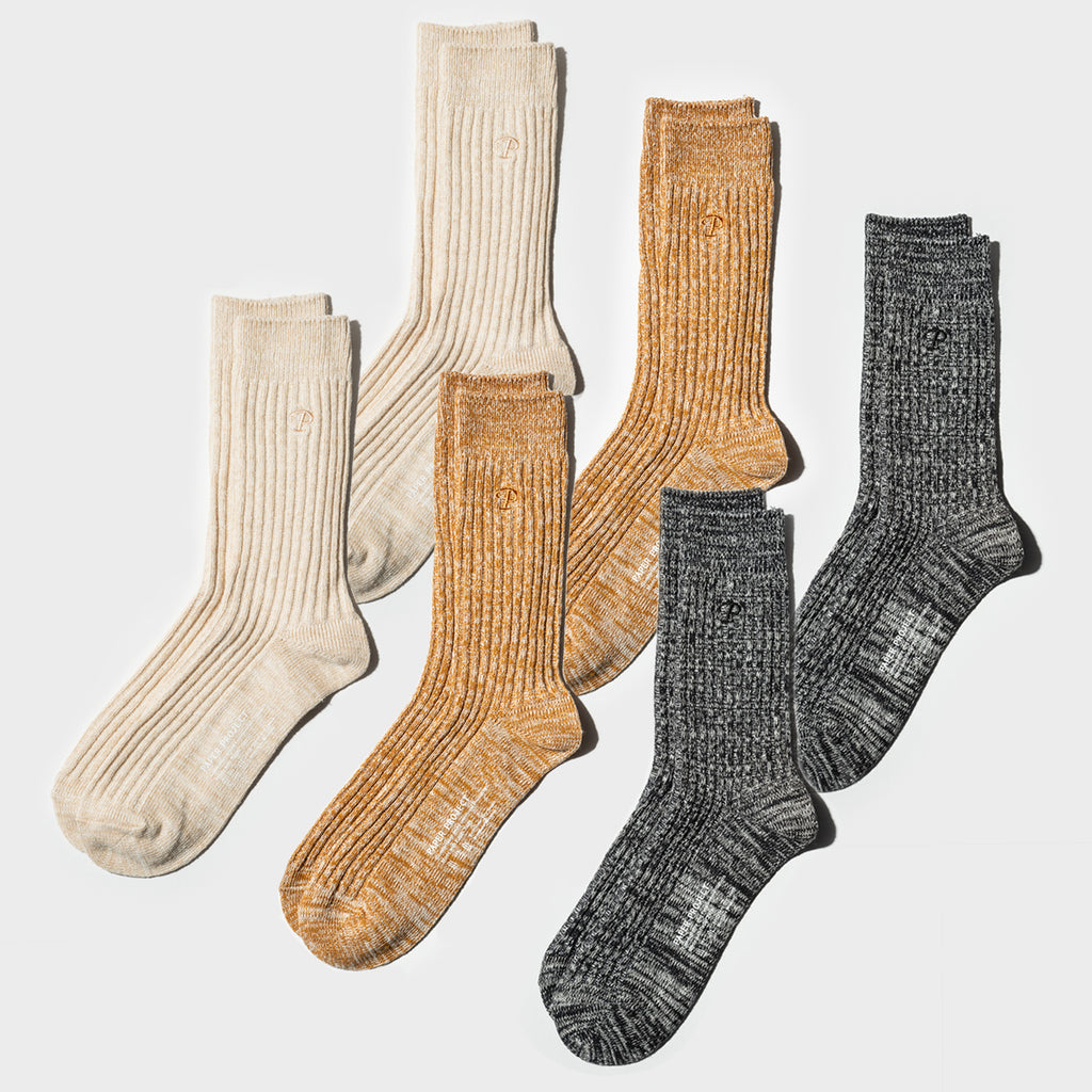 Hemp Heather Crew Sock 6pairs - Multi