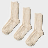 Hemp Heather Crew Sock 3pairs - Oatmeal