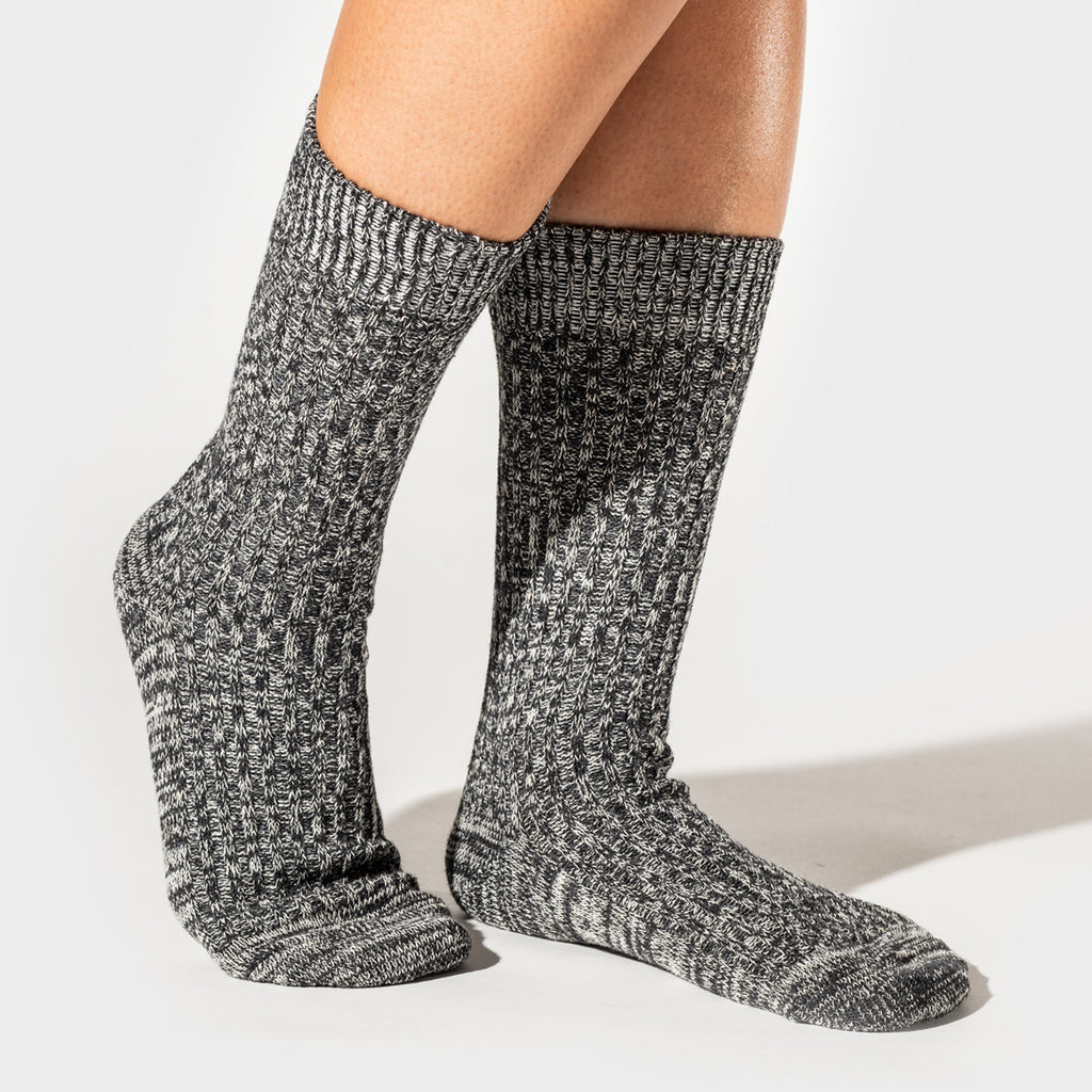 Hemp Heather Crew Sock 3pairs - Charcoal