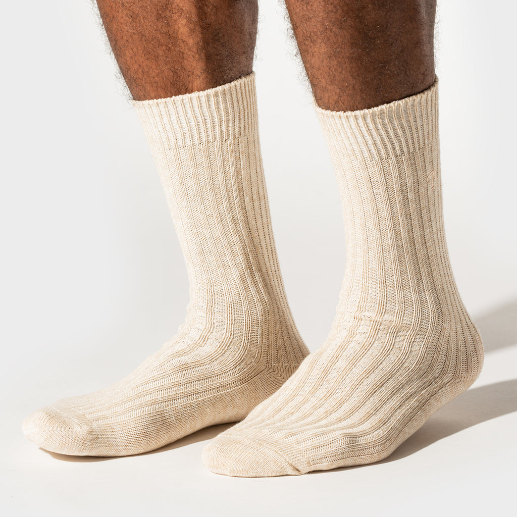 Hemp Heather Crew Sock - Ochre