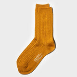 Wool Cable Crew Sock - Ochre