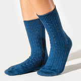Wool Cable Crew Sock - White