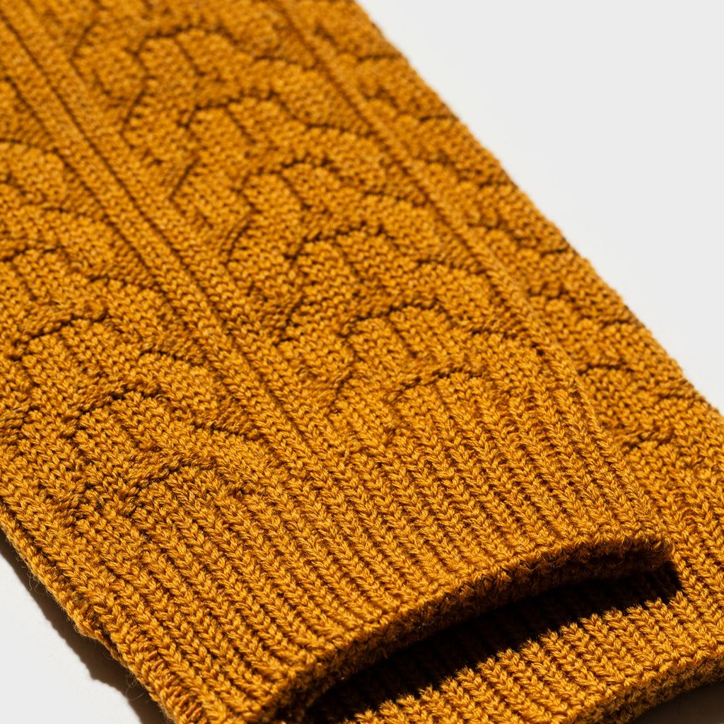 Wool Cable Crew Sock 3pairs - Ochre