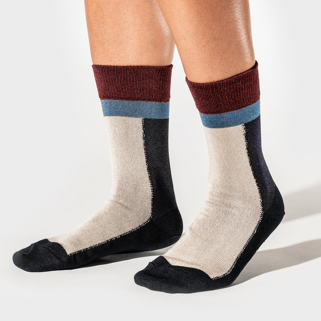 Color Block Short Sock - Navy