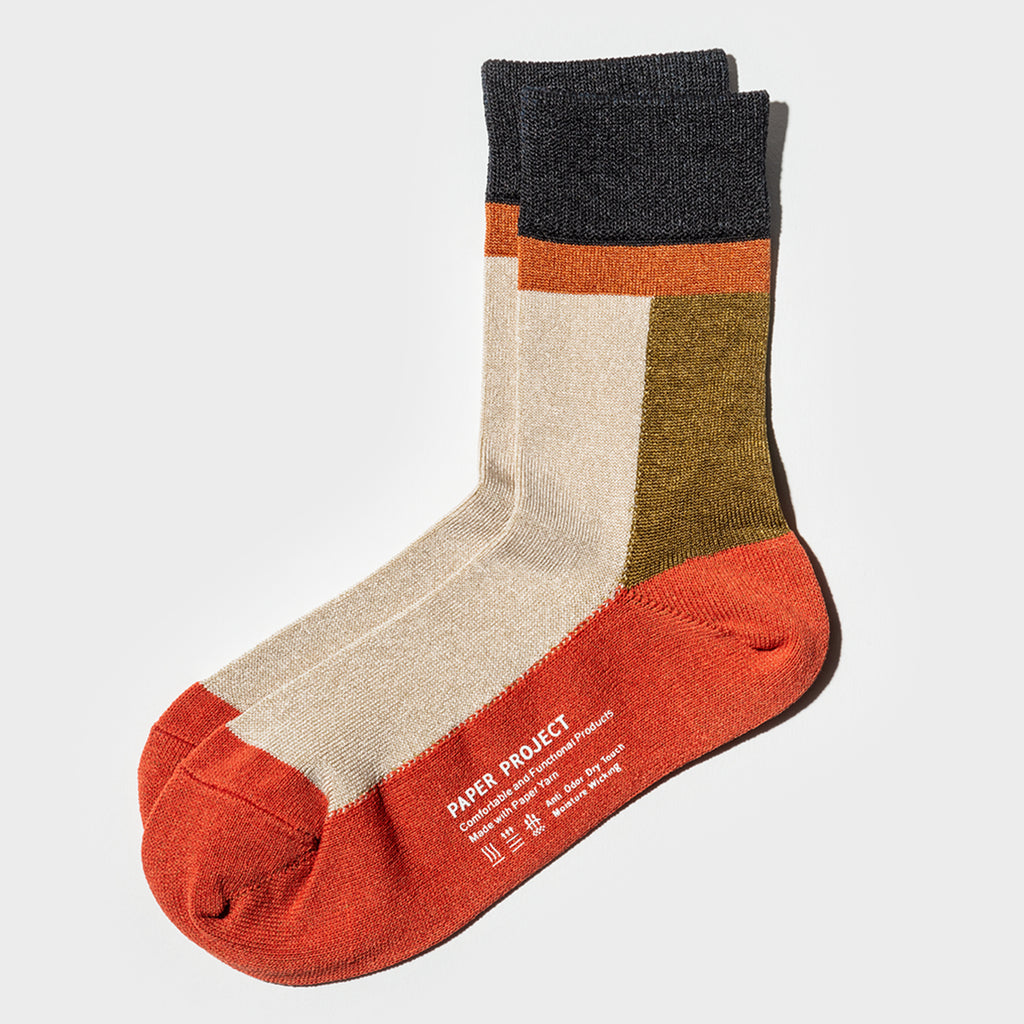 Color Block Short Sock - Orange