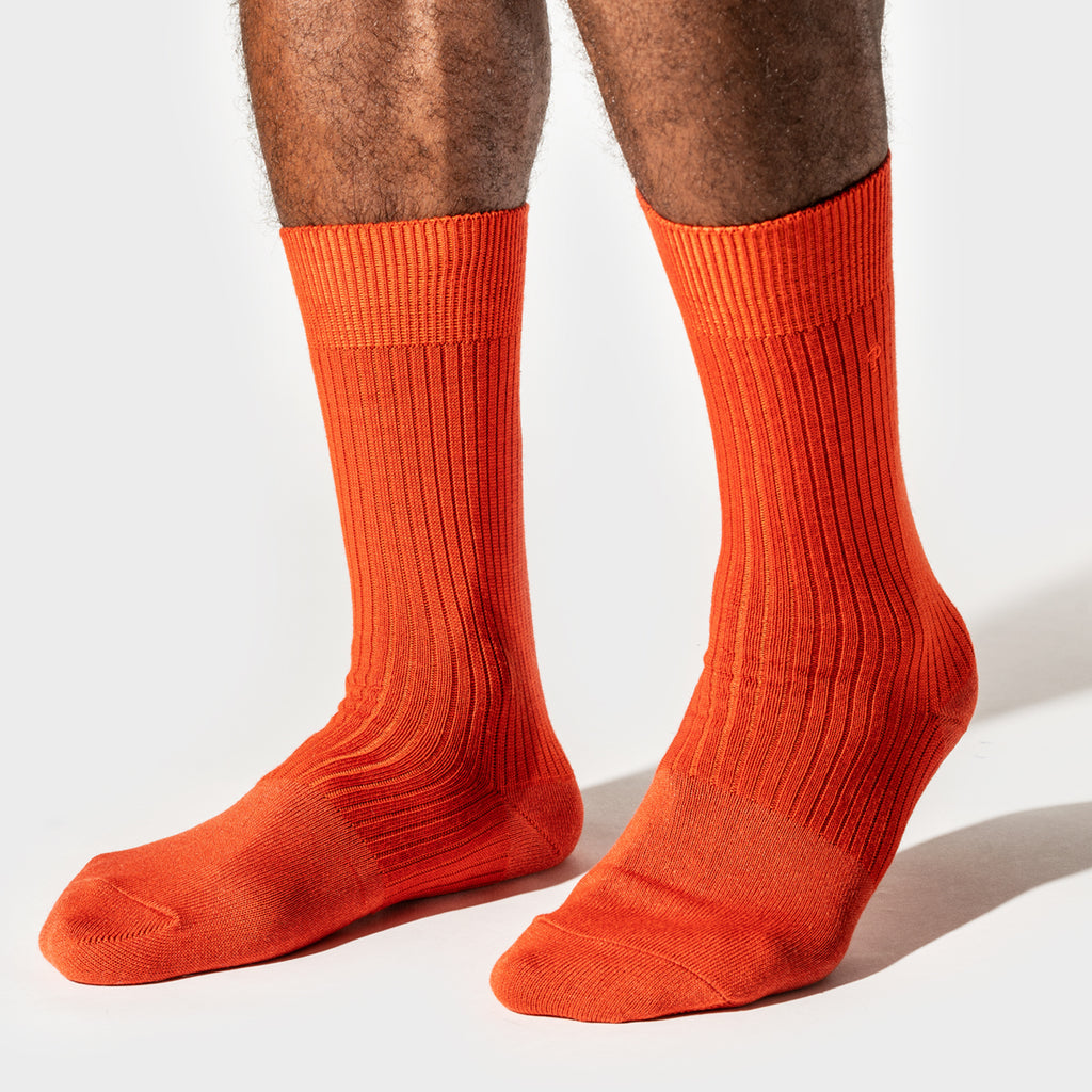 Wool Rib Crew Sock - Orange