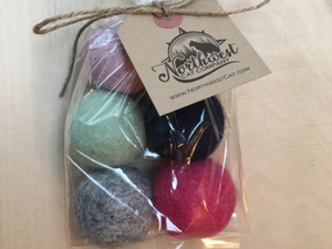 Felted Wool Balls 6 Count - Natural Cat Toys