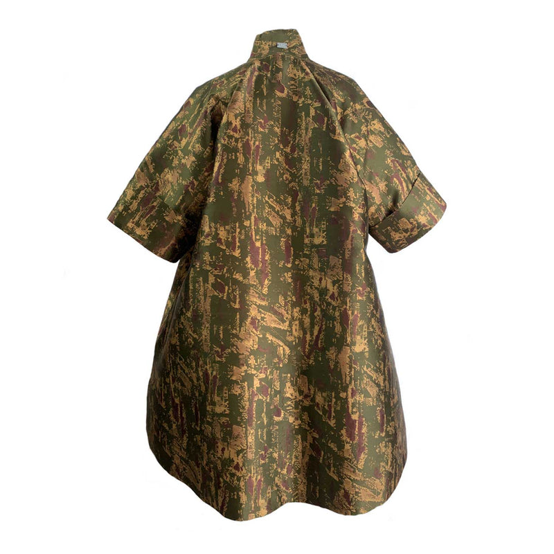 C4 | Boxxy Opera coat: abstract army green print