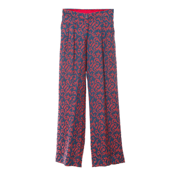 P2 | Wide Leg Pants in Grey and Coral Silk Brocade