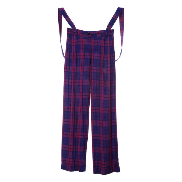 P2 | Wide Leg Pants with Removable Suspenders in Purple Plaid