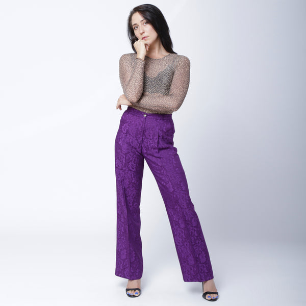 P2 | Wide Leg Pants in Purple Silk Brocade