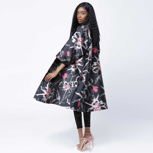 C4 | Oversized Opera Coat in Black and Pink