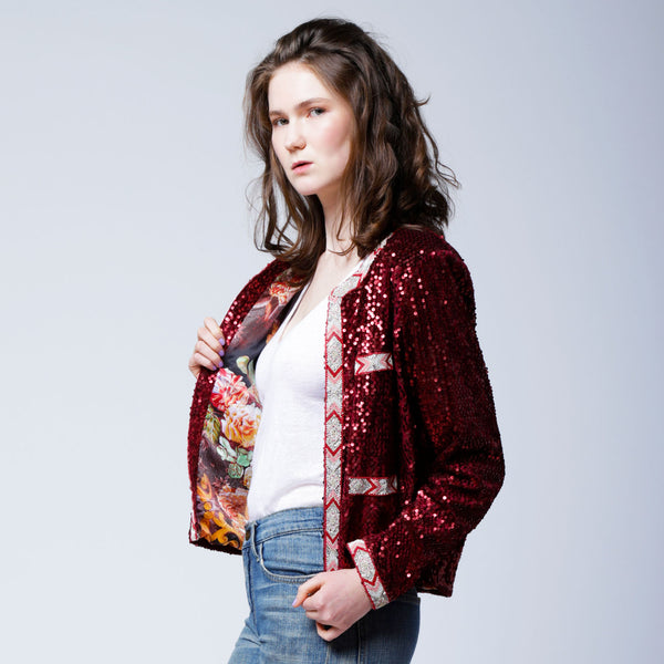 J1 | Beads Trimmed Velvet Sequins Jacket in Red