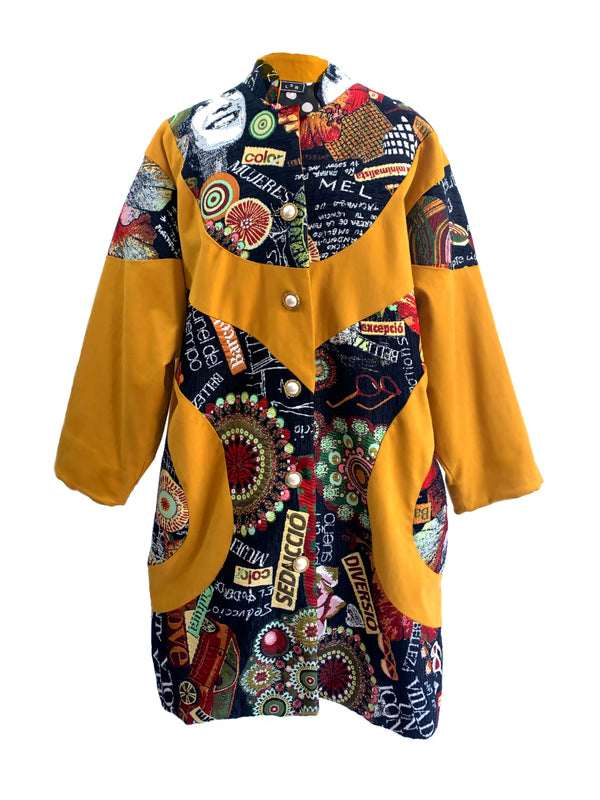 C7 | Oversized Shirt Coat in Mustard and Tapestry Patchwork