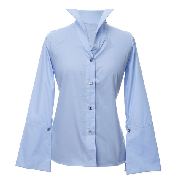 SH1 | Wide Collar Shirt in Blue Cotton