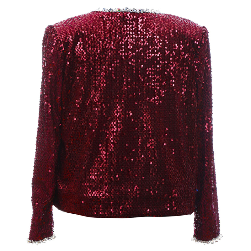 J1 | Crystals Trimmed Velvet Sequins Jacket in Red
