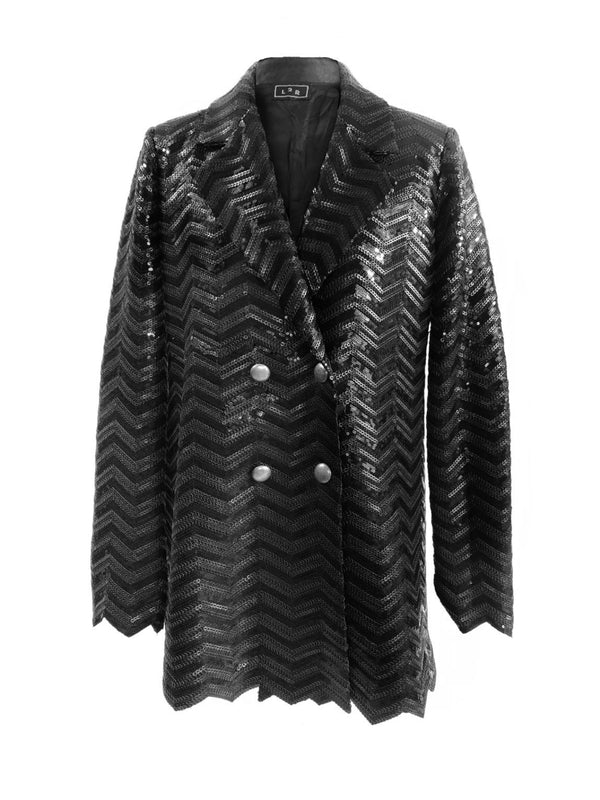 B2 | Double Breasted Blazer in Black Sequins