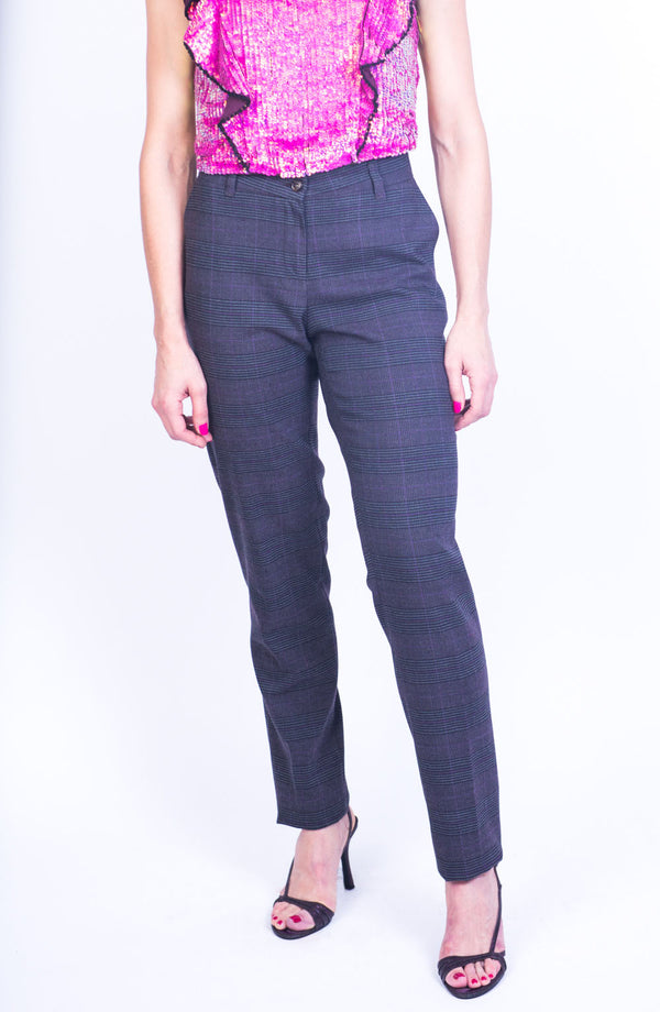 P3 | Slim Leg Pants in Purple Prince of Wales Wool