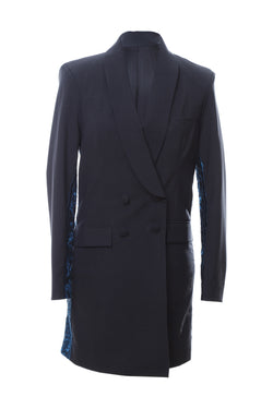 B2 | Double-B long blazer: grey and blue rescued prince of wales