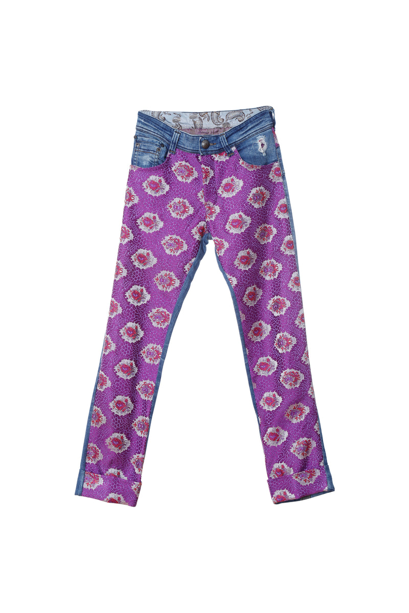 Upcycled denim pants: purple