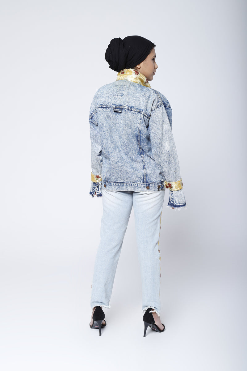 Upcycled denim pants: yellow