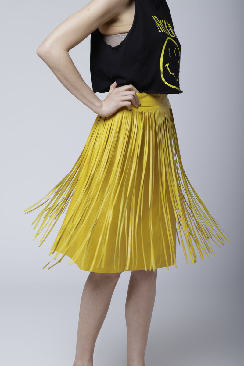SK4 | Pocabombas skirt: rescued yellow leather