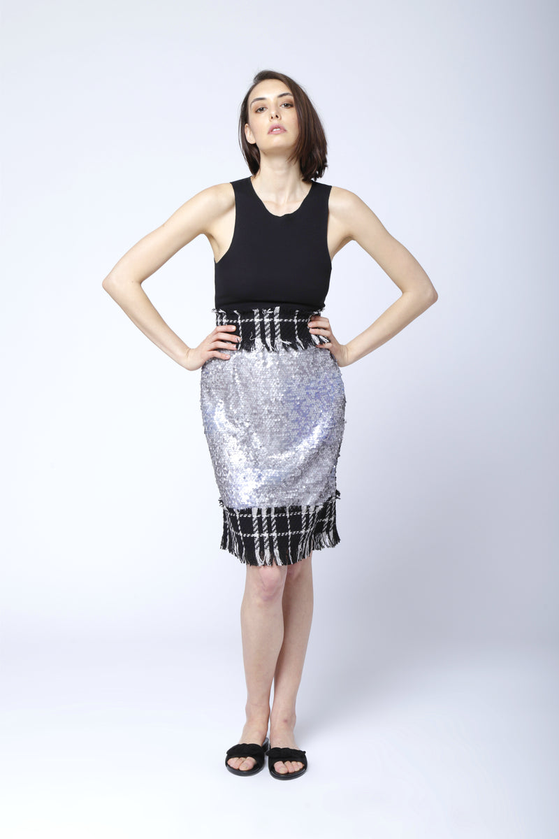 A-Line Pencil skirt: grey sequins
