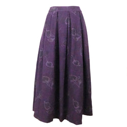 Sk2 | Maxi Boxy Skirt in Floral Dark Purple wool