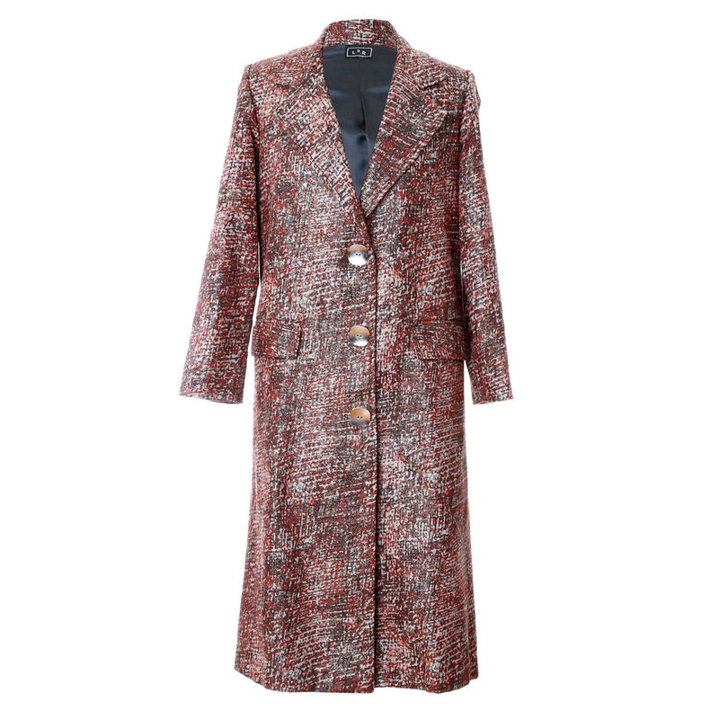 C1 | Relaxed Tailored Coat In Silver and Metallic Brown Brocade