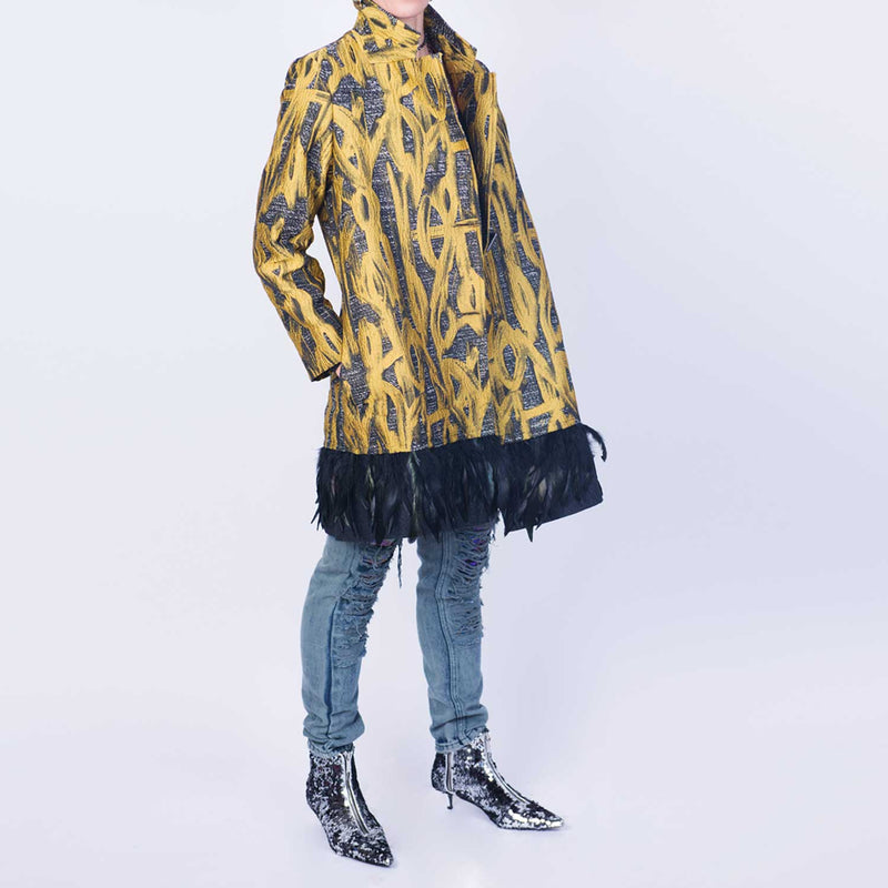 C1 | Not-Only-For-Men Coat: Yellow and Grey