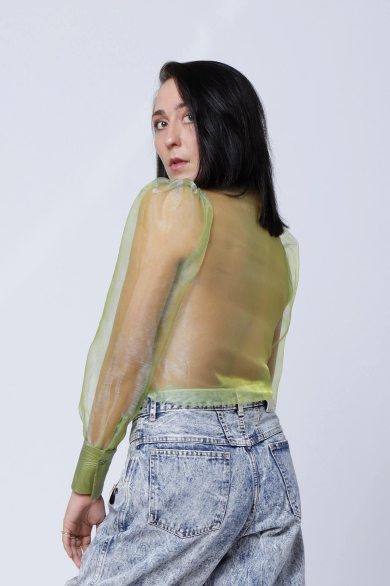 SH3 | Puff sleeves Organza Shirt in Pistachio Green
