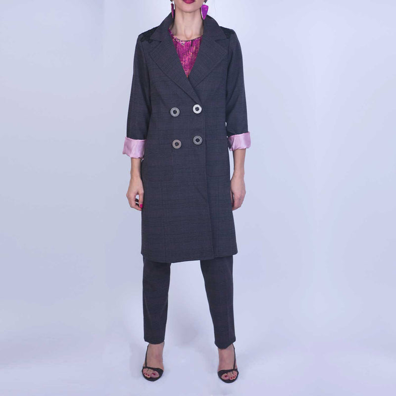 B3 | Double Breasted Long Blazer in Purple Checked Wool