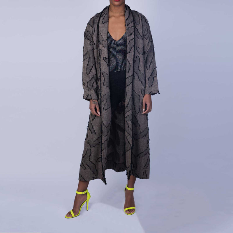 C2 | Slouchy coat in grey and black