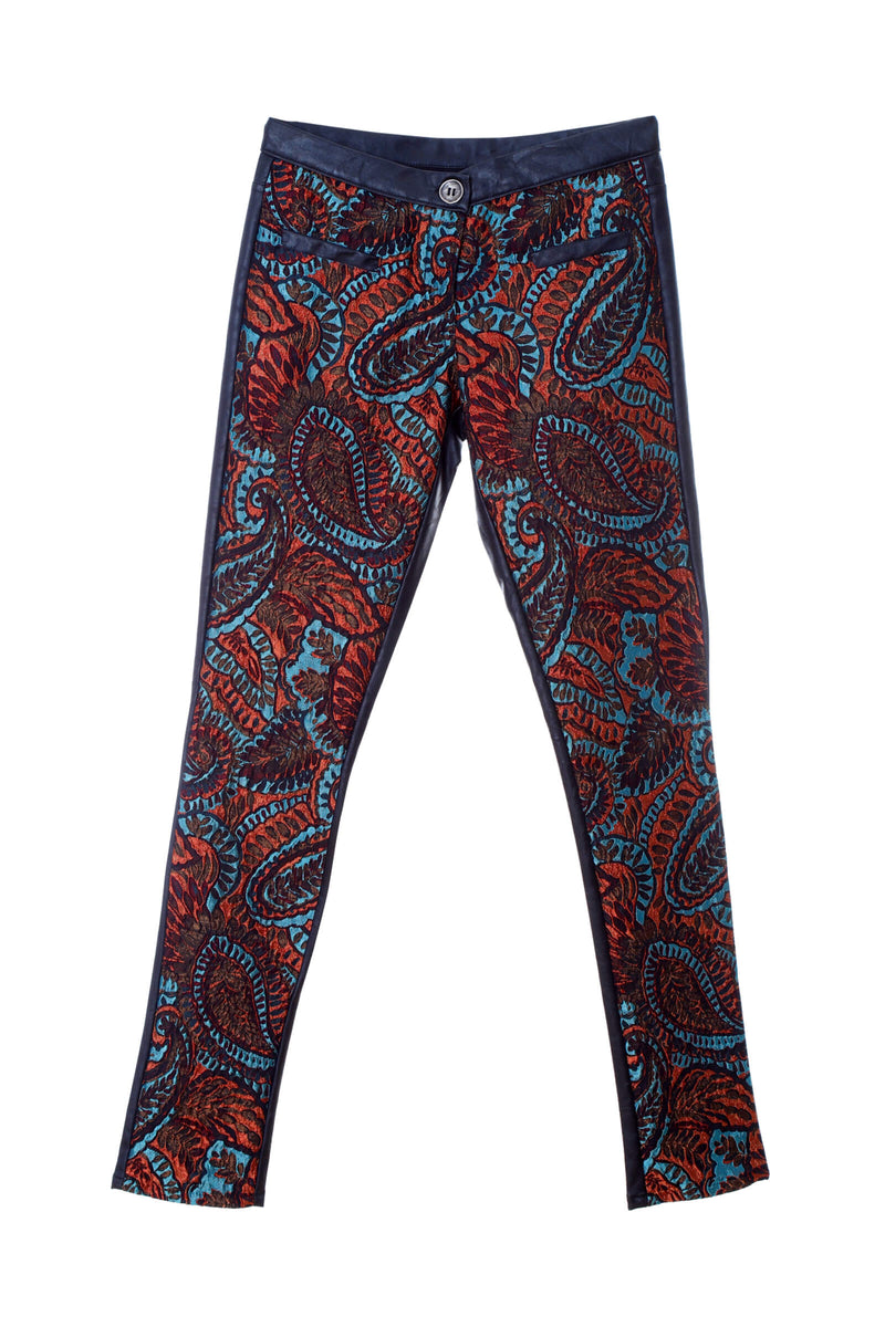 P1 | Two-Face pants: Paisley print in orange and brown