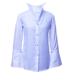 SH1 | Wide Embroidered Collar Shirt in Blue Cotton