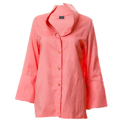 SH1 | Wide Collar Shirt in Coral Cotton