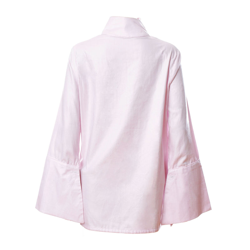 SH1 | Wide Embroidered Collar Shirt in Pink Cotton
