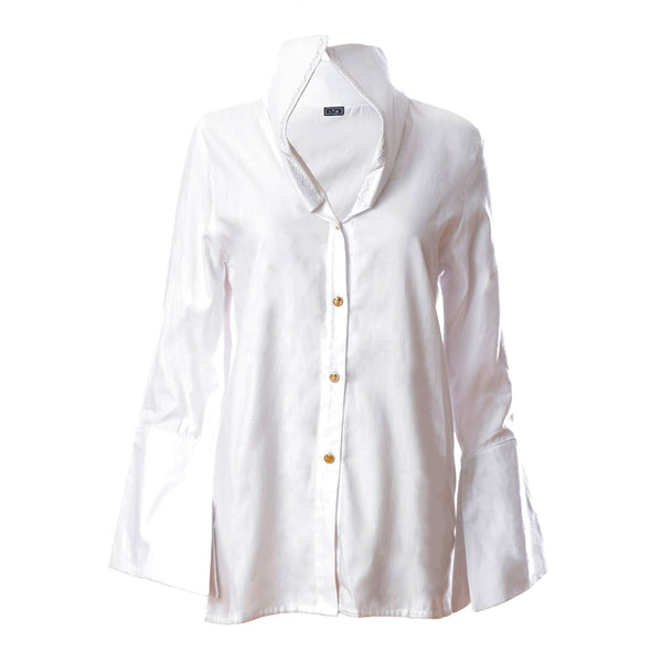 SH1 | Wide embroidered collar shirt in white cotton