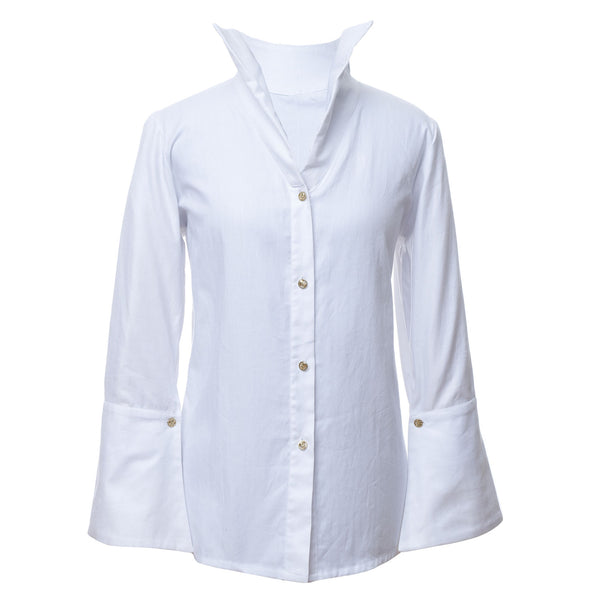 SH1 | Wide collar shirt in white cotton-twill