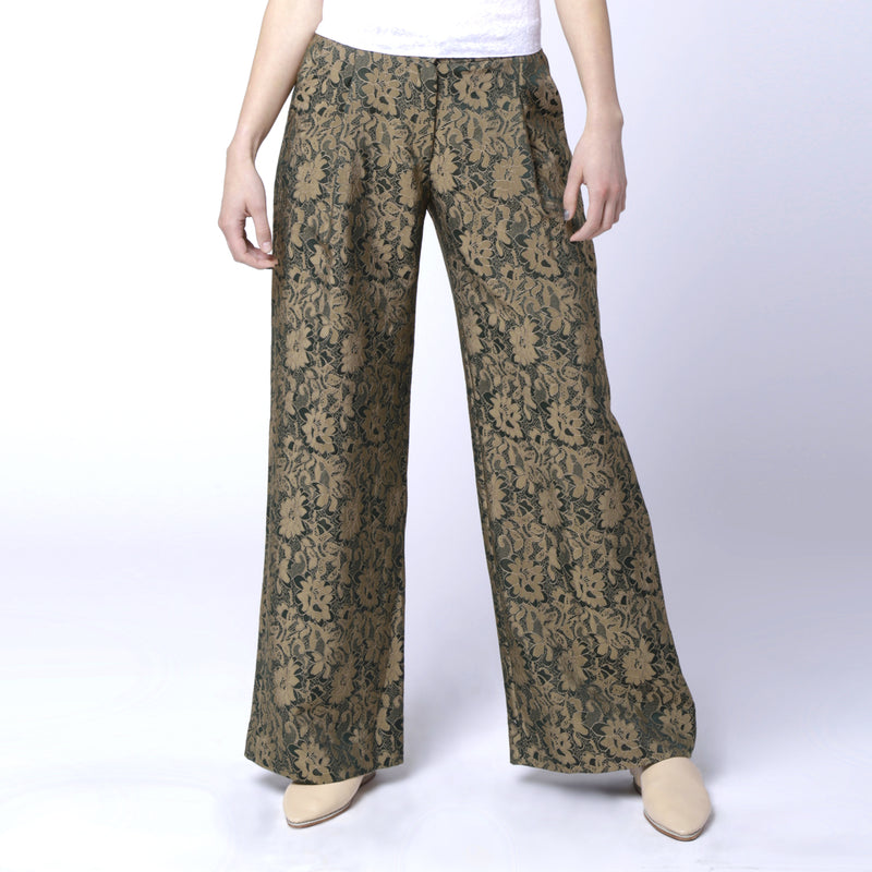P2 | Wide Leg Pants in Green Silk Brocade