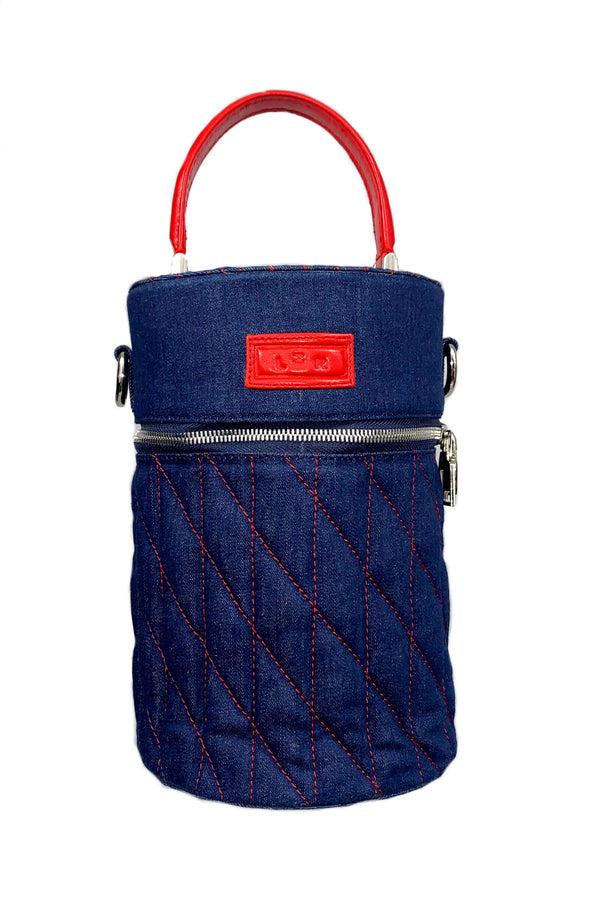 SC2 | Mini Barrel scrabag: recycled blue denim and red rescued leather scrap