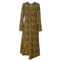 D3 | Asymmetric Dress in Yellow and Blue leopard
