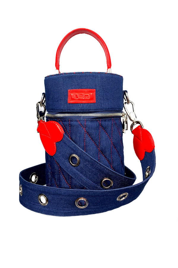 SC6 | Mini Barrel scrabag: recycled blue denim and red rescued leather scrap