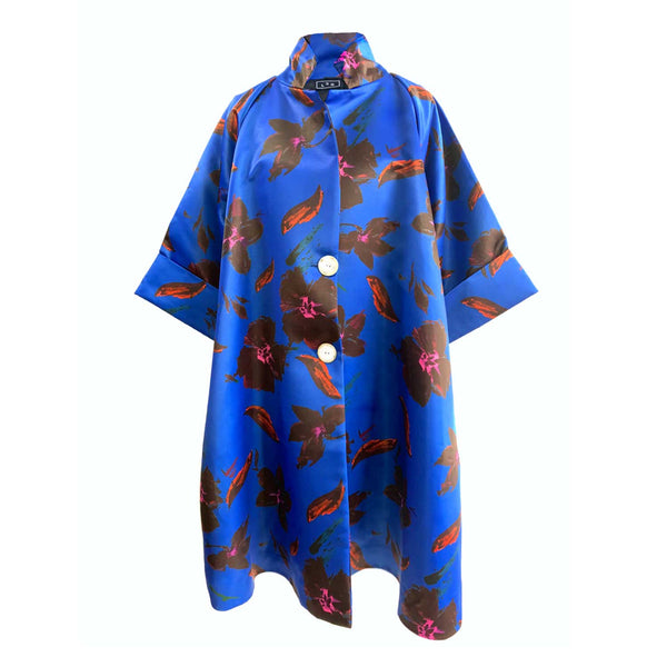 C4 | Oversized Opera Coat in Blue Satin-Duchess